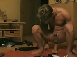 Hot Boy Sits On His Dildo