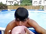 Horny boy in & by the pool