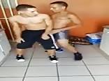 Straight guys dancing the pressure 2