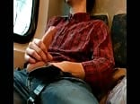 Cumming on a train ride