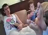 Smelling friends feet