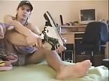 Czech boy shows his feet