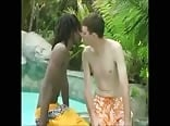 black and white twink meet in pool